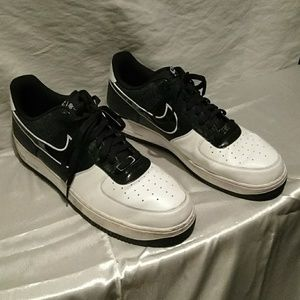Nike Air Force Ones black and white size 17